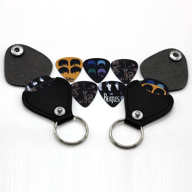 1 unidades selecciones de la guitarra caso monedero Negro de Cuero de Imitación Llavero Estilo Guitar Picks Holder Caso Púas Bolsa Clave anillo