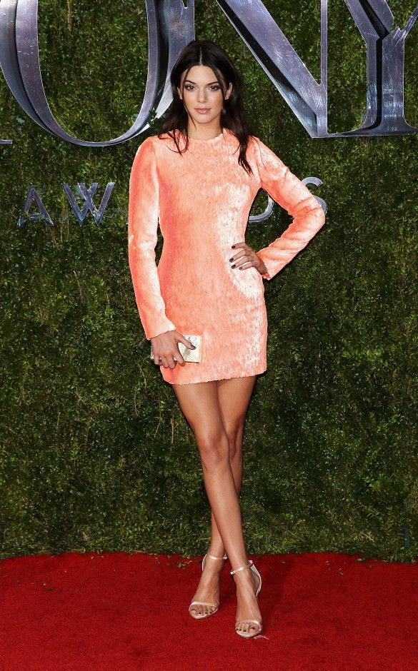 Kendall Jenner in a Calvin Klein Collection peony sequin embroidered long-sleeve mini dress with cutout back, clutch, and sandals