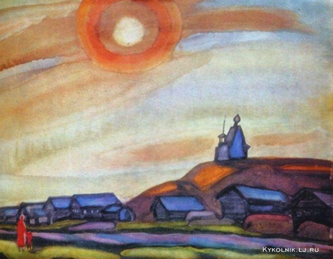 1972 Попков Виктор Ефимович (Россия, 1932–1974) «Желтое солнце в Вершинине»