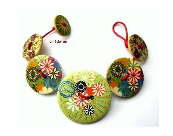 Button bracelet jewelry made of wood buttons by oritdotan on Etsy, $15.00