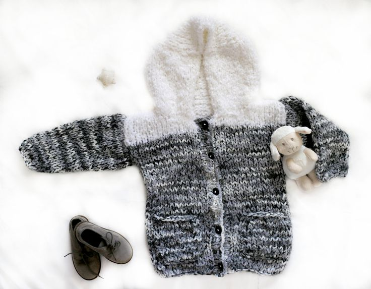 handmade knitted sweater for children, toddlers, babies, girls, boys, made to order, grey white hooded sweater, great gift, child outwear by Jacobstoyshop on Etsy