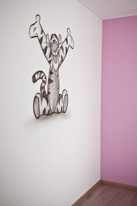 Ook een muurschildering in de kinderkamer kan heel subtiel en strak! Wacht maar tot de meubeltjes staan, dan zal het echt helemaal af zijn.