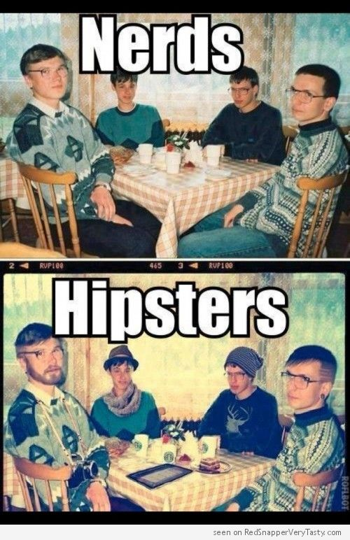 Nerds vs Hipsters - Know the Difference : Instagram filter, Starbucks coffee and a beard.