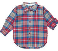 Beautiful woven boy's shirt in Hetton Red, Blue & Grey Check. There is a little pocket on the chest and the sleeves roll up with buttons to secure in place. 100% Organic Cotton. Machine washable