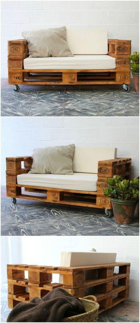 Palettensofa mit Rädern. Sofa mit Paletten gemacht. Sofa-Gartenpaletten. Möbel mit Palettentischen. Palettenmöbel Palettensofa mit Rädern und Glas …