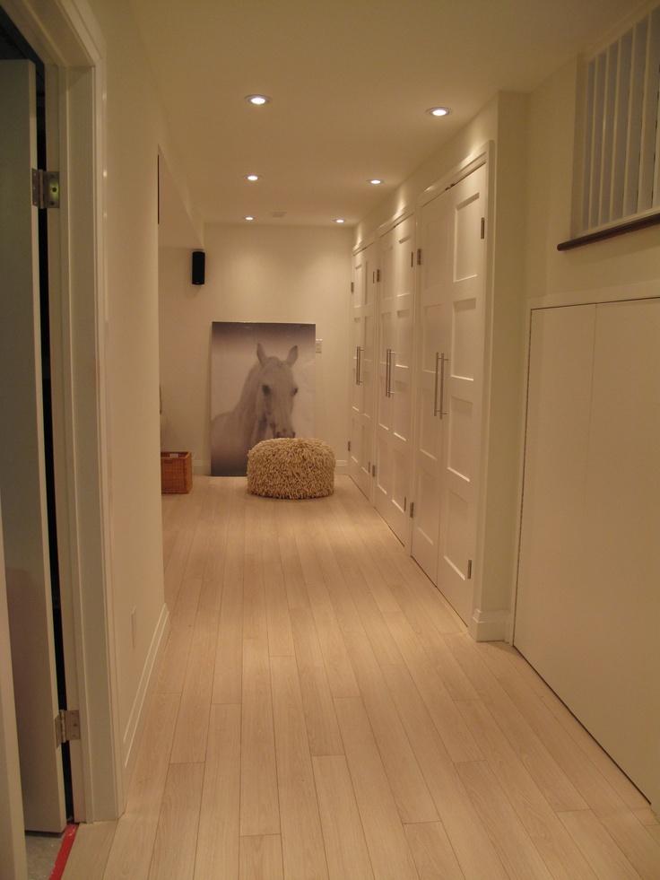 Licht laminaat witte muren en spotjes
