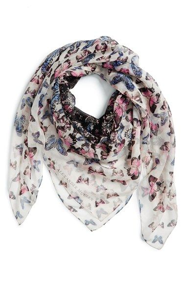 "Alexander McQueen  ""Butterflies in Flight"" Scarf  I want but in the Midnight Blue/ Red color"
