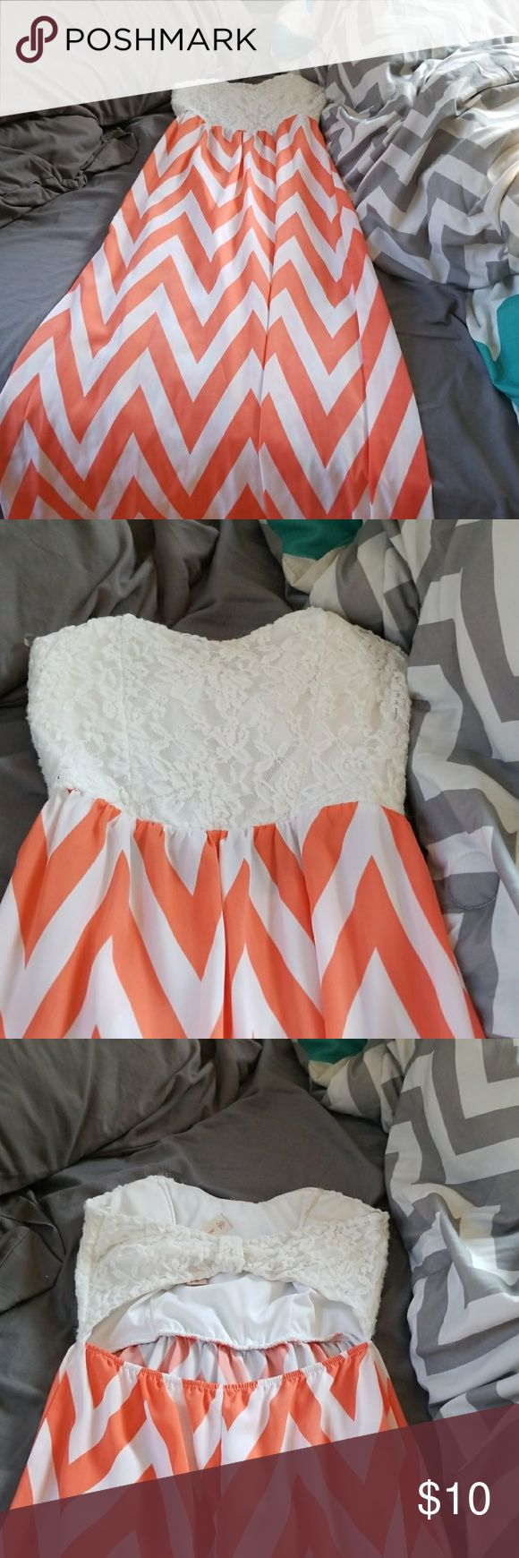 Chevron and lace maxi dress Orange and white chevron printed maxi. Lace bust. Banded and open back. Lightweight and super comfortable. Dresses Maxi