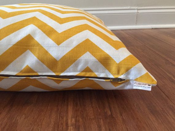 Chevron Dog bed cover Yellow Dog bed cover by PlushPupdogbeds
