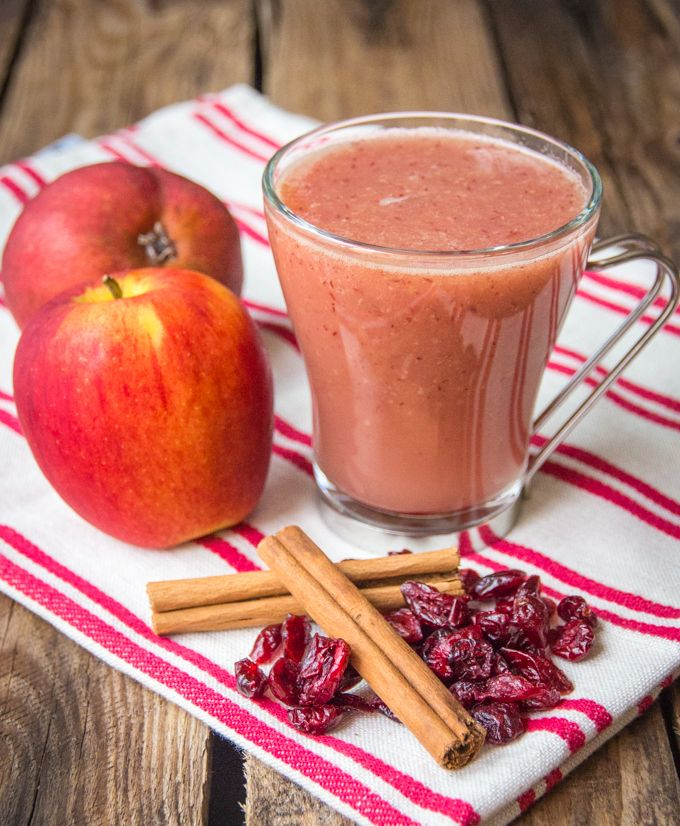 Cranberry and Apple hot smoothie - a quick and healthy hot smoothie for a cold day, just add protein.
