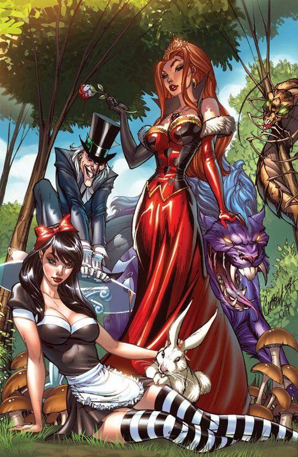 The real Alice in Wonderland cast. J. Scott Campbell & Nei Ruffino