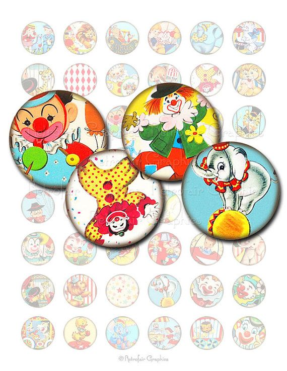 Circus Carnival Images, 1 Inch Circle Digital Collage Sheet of Retro Circus Clowns, Animals and Children, Instant Download Printables