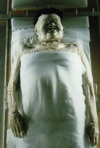 "The ""Lady of Dai"" -  Xin Zhui, is the best-preserved mummy ever seen, with blood that is still liquefied, intact organs, and flexible limbs. The wife of the ruler of Dai 2,000 years ago, she died at 50. then wrapped in 20 layers of fine silk, submerged in an ""elixir of immortality,"" encased in 4 coffins, surrounded by 5 tons of charcoal, and entombed 50 ft. under the ground. China"