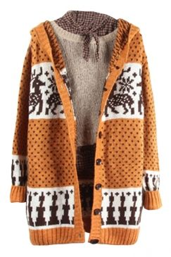 #Womens #Reindeer #Patterned #Hooded #Cardigan #Sweater #Coat #Yellow