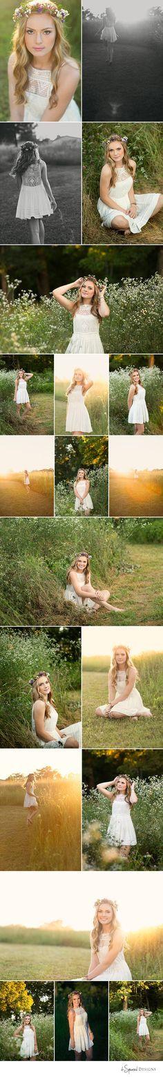 d-Squared Designs St. Louis, MO Senior Photography, Summer senior girl. Gorgeous senior. Summer senior outfit. Country senior girl. Golden hour. Boho senior. Floral crown. Senior posing.