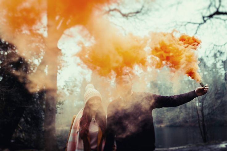 Having fun with a smoke flare on an engagement shoot. Photo by Benjamin Stuart Photography #weddingphotography #smokeflare #engagement #love