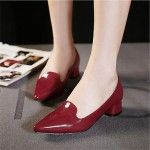 Women's Shoes Nz Chunky Heel Pointed Toe Pumps/Heels Casual Black/Silver/Burgundy