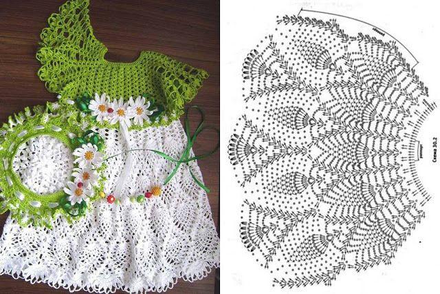 Vestido de Crochê infantil com Gráficos - Passo a passo - Toda Atual