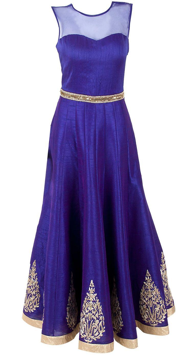 blue purple anarkali  blue raw silk anarkali with net yoke and gold tar buttis and pearl on kal