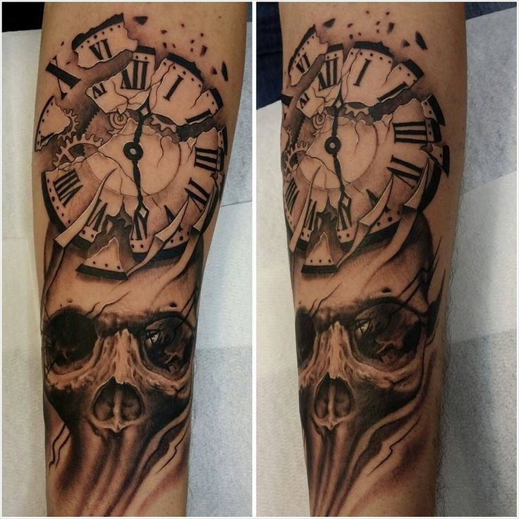 Clock And Skull Tattoo Ideas Pinterest Clock Skulls