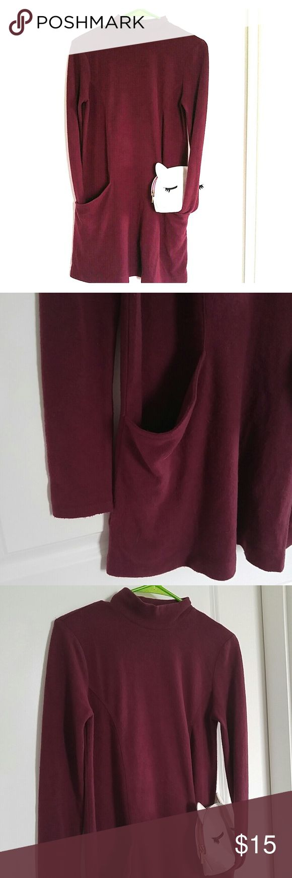 New Look Wine Mock Neck Lounge Fleece Aline Dress Fleece aline dress with pockets by New Look. Mock neck. Color is represented in cover photo. Perfect dress to pair with boots for a day of errands, casual events, or lounging at home.  Great condition-Hardly worn and no pilling/stain. New Look Dresses Mini