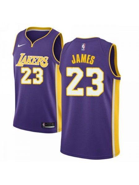 111488538790 Los Angeles Lakers  23 LeBron James Purple Swingman Jersey