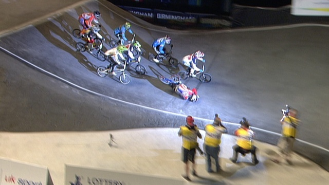 British BMX Olympic hopeful Liam Phillips crashing at the World Championships.