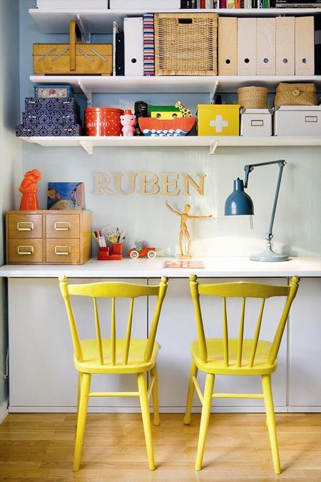 Office or study space. Yellow chairs, colorful details