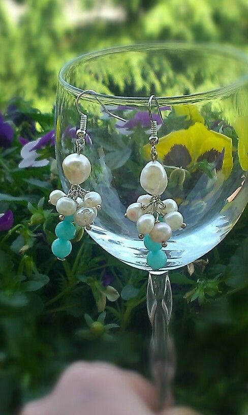 Earrings freshwater pearl brasil acquamarin