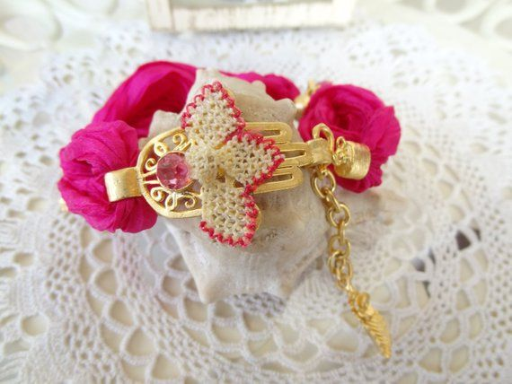 Hamsa Gold Pendant And Candy Pink Silk Bracelet Pink Jade With Lace