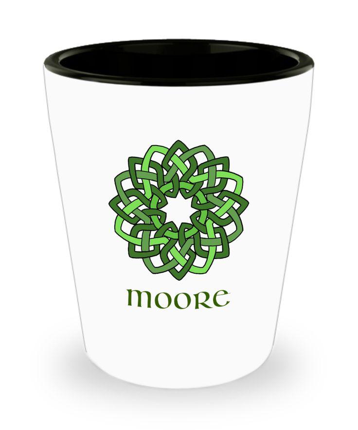 Moore ~ Irish Surname ~ Celtic Knot Wreath Shot Glass
