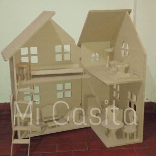 casita de muñecas barbie con muebles fibrofacil para pintar