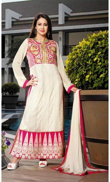 Glamorous Cream Salwar Kameez  long #anarkali suits online, #pakistani anarkali suits, #designer anarkali suits, #indian anarkali suits online, #long anarkali suits pakistani