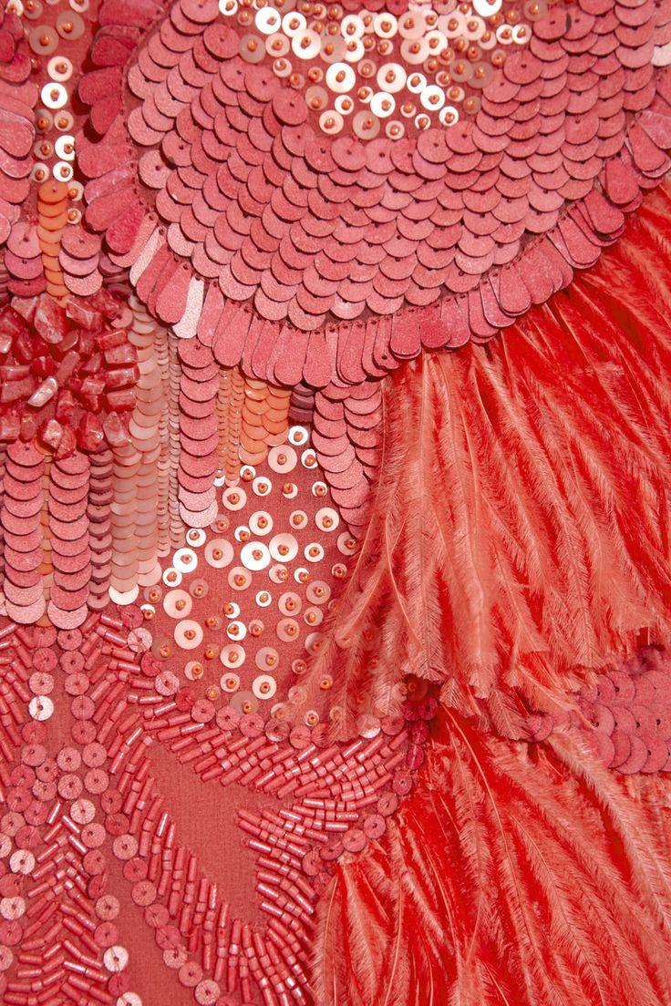 Matthew Williamson Feather and bead-embellished silk-chiffon dress