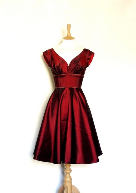 Dig For Victory. Cranberry Taffeta Prom Dress with Cap Sleeves and Dusky Pink Piping