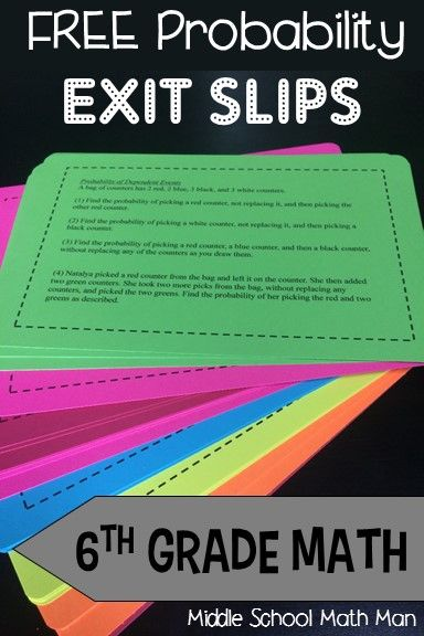 FREE unit of math exit slips for 6th grade math. This unit focuses on 6th grade math probability concepts. Each topic includes 4 exit slip questions that increase in difficulty. Topics include sample spaces, independent events, dependent events, the fundamental counting principle, and more!