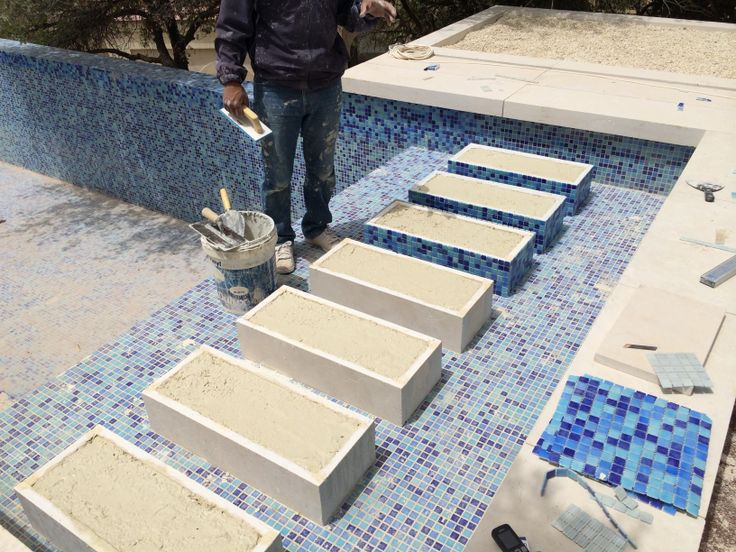 Pool tiling with mosaic, stone