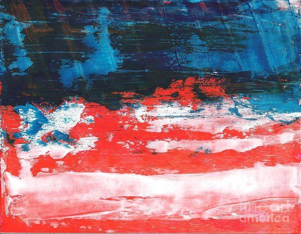 Red White Blue Scene Art Print by Corinne Carroll
