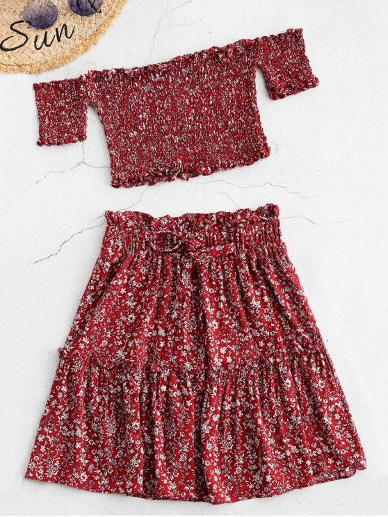 d98f782a7a9 Red Smocked Floral Print Top And Skirt Set Occasion  Casual Style  Casual  Fit Type