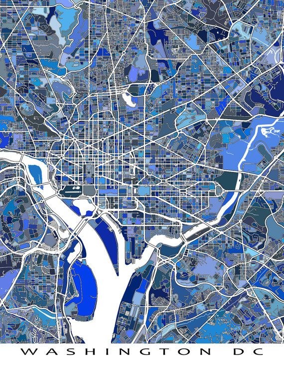 Washington DC Map / District of Columbia / Map Art by MapsAsArt