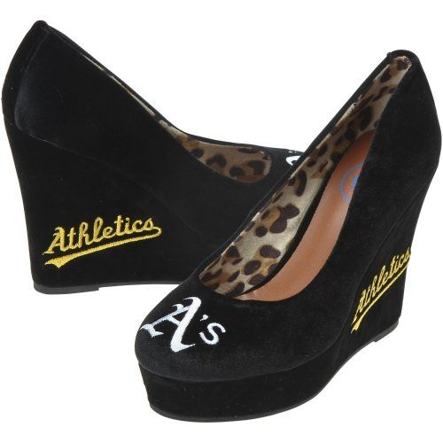 Cuce oakland athletics ladies groupie high heel wedges for Outboard motor shop oakland