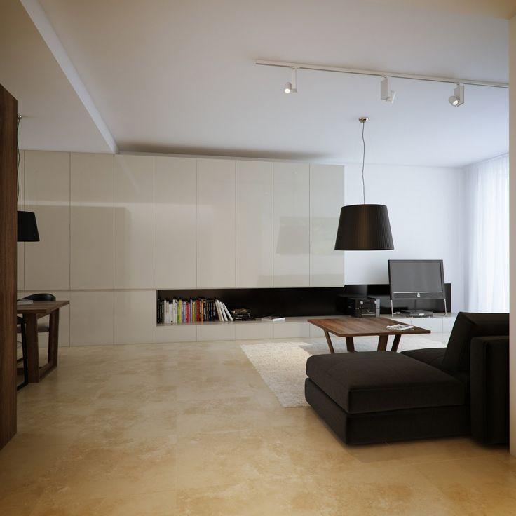 Kitchen, Luxury Minimalist Loft Designs With Single Black Shade Hanging Lamps And Light Track Rail Ceiling Spotlight Also American Belmar Cashmere Ceramic Floor : Magnificent Loft Kitchen Ideas