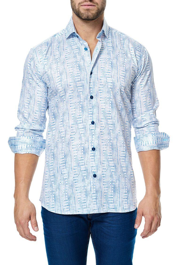 New Maceoo Class Print Sport Shirt ,LIGHT BLUE fashion