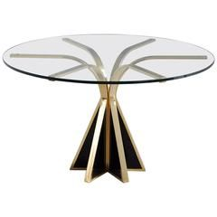 Round Glass and Brass Dining Table