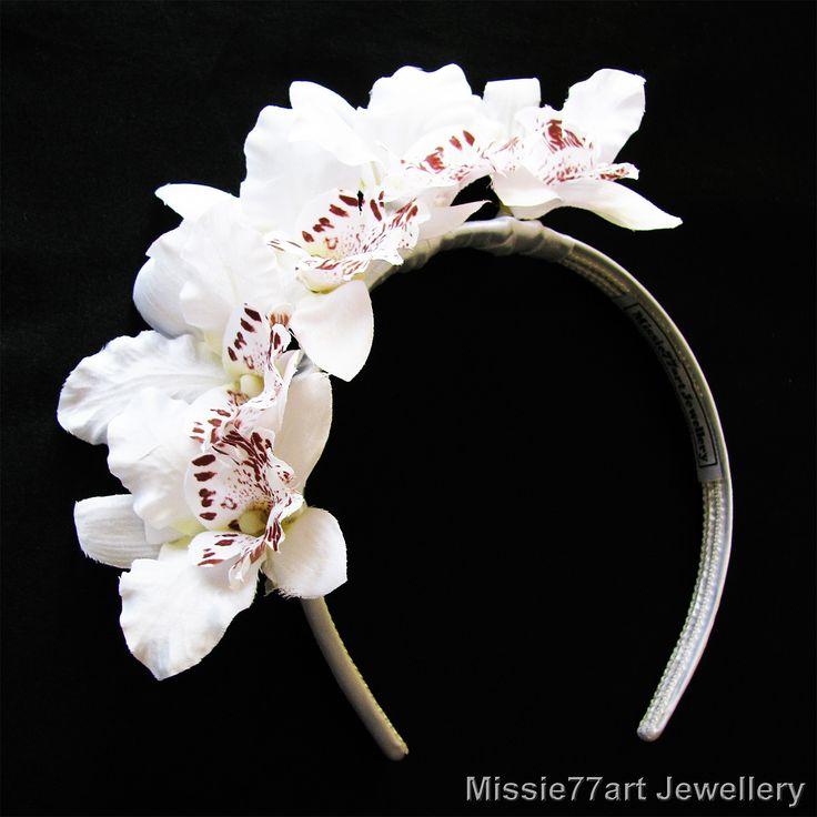 Flora White Orchid side Crown Races Fascinator Bridal Headpiece