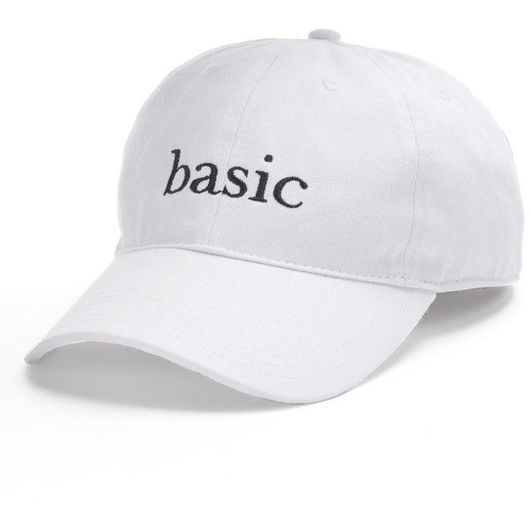 "Women's SO® Embroidered ""Basic"" Baseball Cap ($9.99) ❤ liked on Polyvore featuring accessories, hats, white, white brim hat, white hat, white baseball cap, adjustable hats and embroidered ball caps"