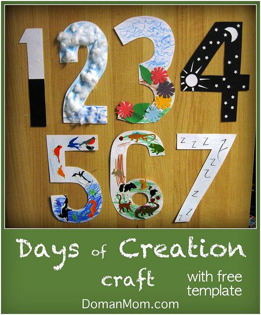 Days of Creation Craft with free template by DomanMom.com. i never could remember what was created on each day...