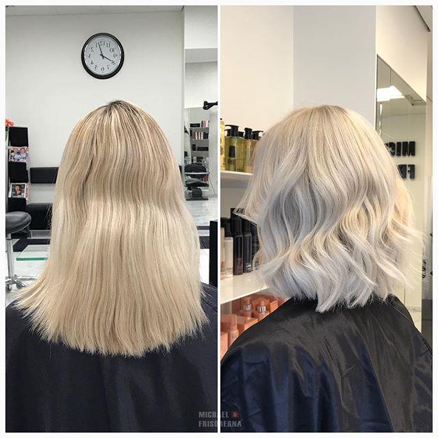 Vi klipper av håret i en trendig lob och gör henne riktigt isblond! Superfräscht tycker vi #iceblonde #blondehair #lobhaircut