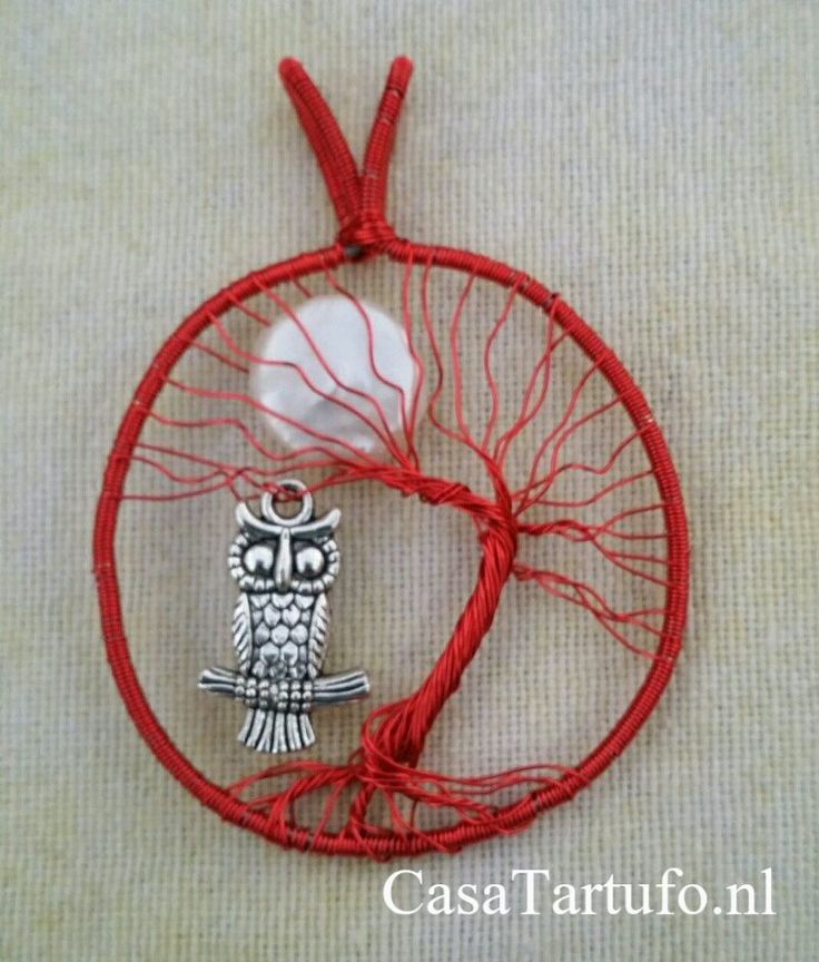 Wire Tree pendant. 5.Red wire with white moon and owl.(4 cm). Sold at…