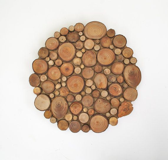 Round Wood Tree Slice Centerpiece Trivet door ElizaLenoreDesigns, $42.00